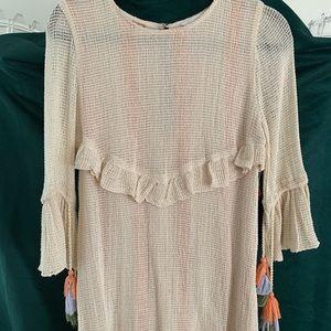 Zara BOHO Open Weave Dress Colorful Tassel M